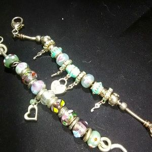 Charm bracelets lot hand painted glass beads